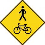 Signal avancé de passage piétions et cyclistes (droite)