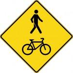 Signal avancé de passage piétons et cyclistes (gauche)