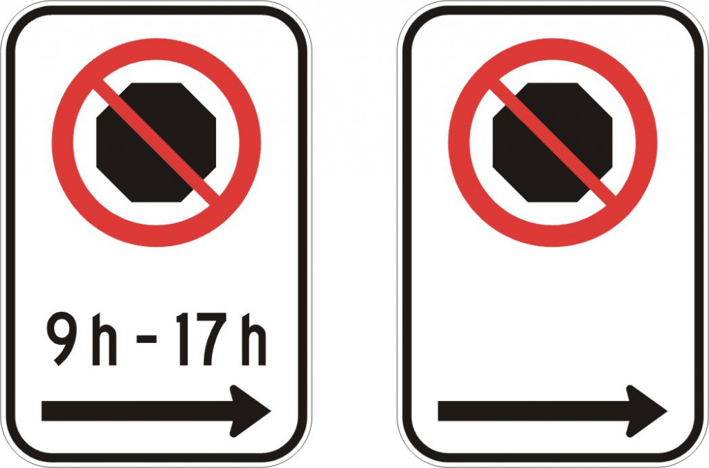 Interdiction d'arrêt (droite)