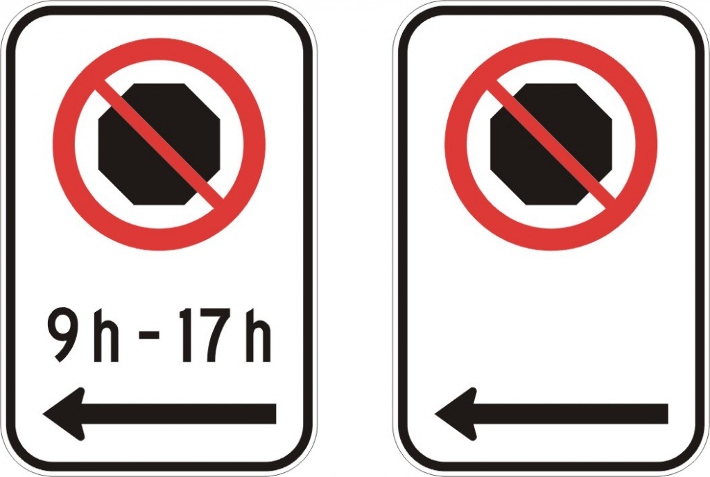 Interdiction d'arrêt (gauche)