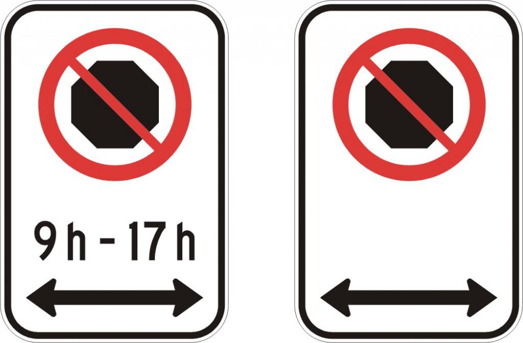 Interdiction d'arrêt (deux côtés)