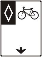 Voie réservée aux vélos (vers l'avant)