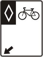 Voie réservée aux vélos (vers la gauche)