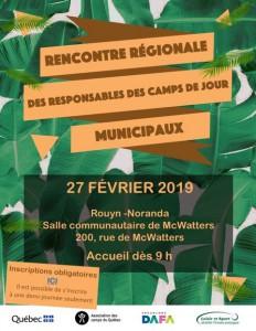 Rencontre régionale des responsables des camps de jour @ Salle communautaire de McWatters